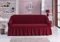Натяжной чехол на 2х местный диван (бордо) Турция с оборкой