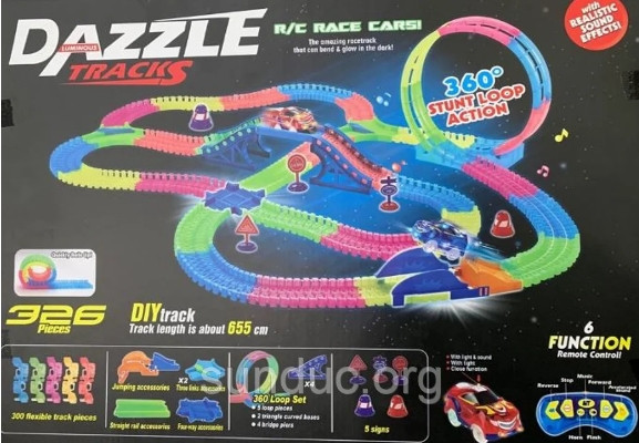 DAZZLE TRACKS 326 деталей с пультом управления | Игрушечный трек для машинок | Конструктор трасса