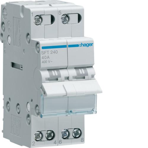 Переключатель I-0-II с общим выходом сверху 2-пол., 40А/230В (SFT240)