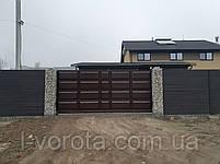 Откатные ворота ш4500, в2000 (дизайн филенчатые ворота, шоколадка), фото 3