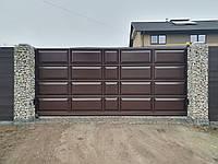 Откатные ворота ш4500, в2000 (дизайн филенчатые ворота, шоколадка)