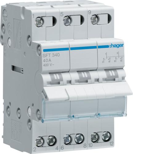 Переключатель I-0-II с общим выходом сверху 3-пол., 40А/400В (SFT340)