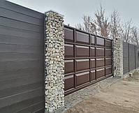 Откатные ворота ш4500, в2000 (дизайн филенчатые ворота, шоколадка), фото 2