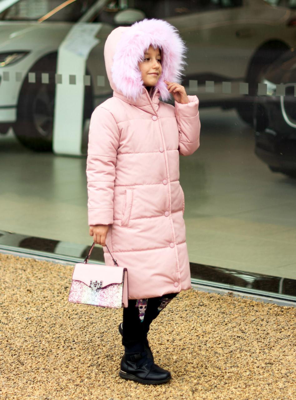 Зимняя удлиненная куртка  для девочки Плащевка на силиконе Флисовая подкладка Рост 128 134 140 146 152 158