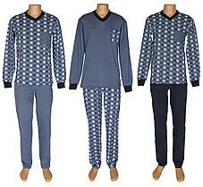Костюм домашний мужской теплый для сна и дома 18204 Pocket Soft Grey&Blue коттон начес, р.р.44-62
