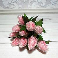 Ягоды декоративные, земляника, 6 шт., цвет св.розовый
