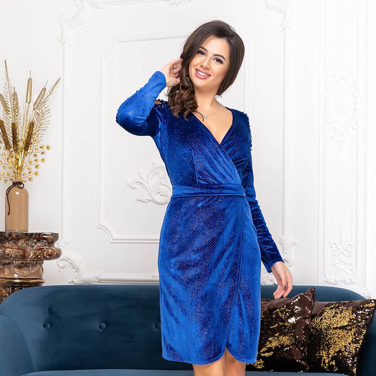 """Ярко-синее велюровое вечернее платье """"Виолетта"""""""
