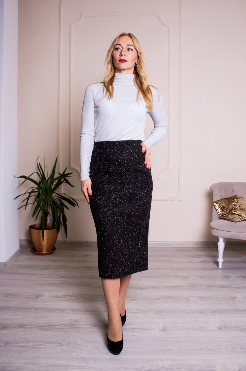 Женская теплая юбка Янина чёрная размер 62, 64