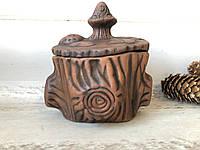 Ёмкость для хранения соли в виде пенька из красной глины h 12 см, фото 1