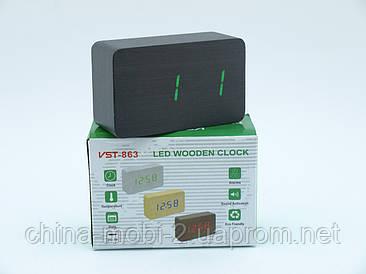VST863 часы с цифровым циферблатом, темные с зелеными цифрами