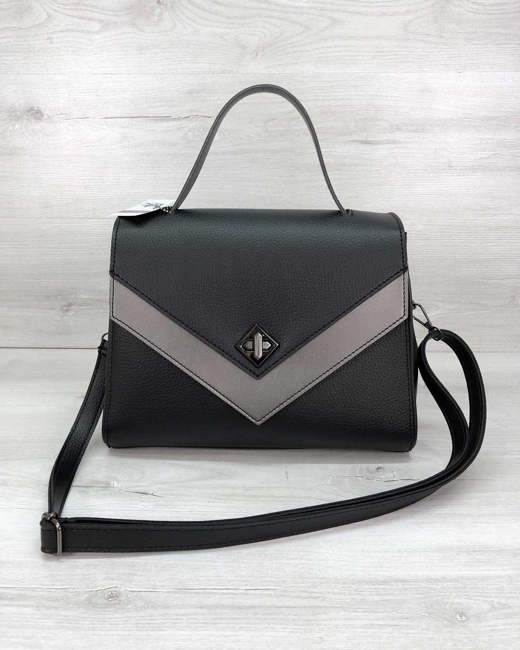 Черная женская сумка портфель 57703 деловая с ручкой и ремешком
