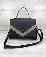 Черная женская сумка портфель 57703 деловая с ручкой и ремешком, фото 1
