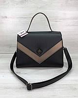Деловая женская сумка портфель молодежная с ручкой и ремешком 57702, фото 1