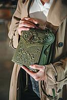 Кожаный оливковый рюкзак ручной работы, сумочка-рюкзак с авторским тиснением, стиль бохо, фото 1