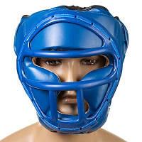 Шлем боксерский с пластиковой маской Everlast (р-р S-L, синий)
