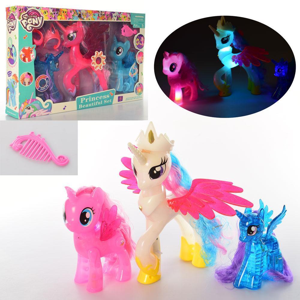 Лошадка My Little Pony 3 шт.  звк, свет