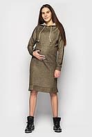 Платье худи с капюшоном для беременных, вагітних, годуючих, гв, кормления хаки