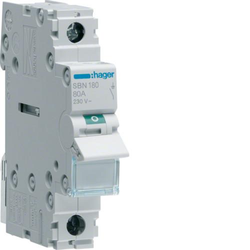 Выключатель напряжения (рубильник) 1-полюсний 80А/230В (SBN180)