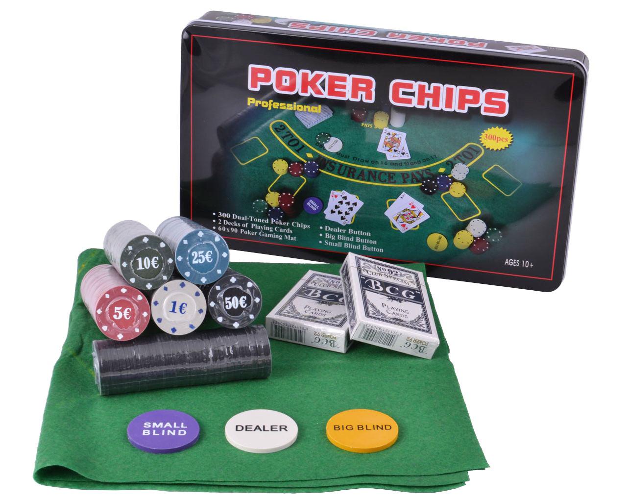 Набор для покера 300 фишек, игральные карты, поле для игры