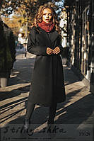 Женское кашемировое пальто на запах черное, фото 1