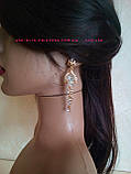 Комплект сережки-гвоздики під золото з червоними каменями і браслет, висота 7,5 див., фото 4