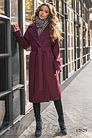 Женское кашемировое пальто на запах бордо, фото 1