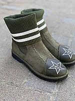 Ботинки женские зимние зеленые оптом
