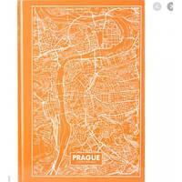 Канцелярская книга А4 AXENT 8422-542-А Maps Prague 96л клет персиковый