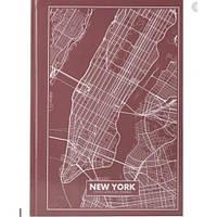 Канцелярская книга А4 AXENT 8422-543-А Maps New York 96л клет розово-коричневый