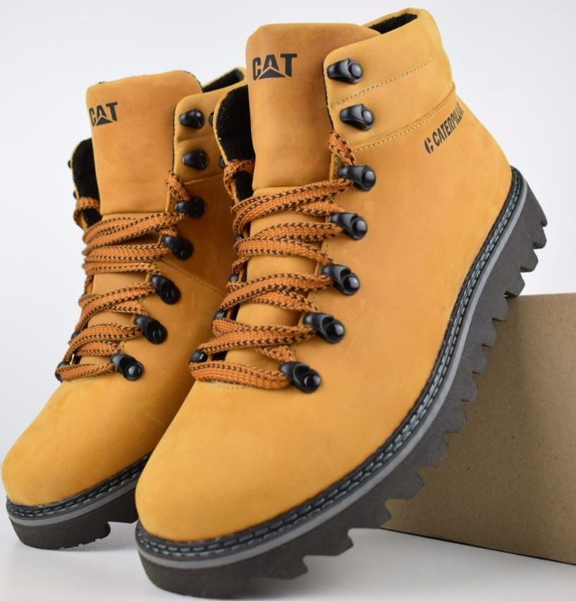Зимові чоловічі черевики Caterpillar з хутром руді черевики CAT теплі. Живе фото. Репліка