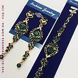 Серьги под золото с зелёными камнями, высота 7,5 см., фото 2