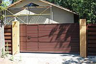Откатные ворота 4000, 2000 с врезной калиткой (дизайн профлист), фото 2