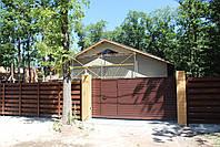 Откатные ворота 4000, 2000 с врезной калиткой (дизайн профлист), фото 3