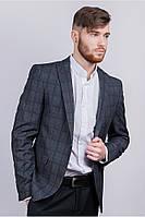 Пиджак серый в клетку №AG-0002967 цвет Грифельный размер XS