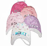 Шапочка на завязках для новорожденной девочки в роддом и для прогулок Люкс Польша