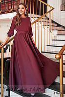 Женское платье в пол марсала
