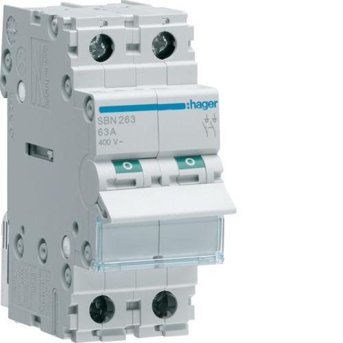 Выключатель напряжения (рубильник) 2-полюсний 63А/400В (SBN263)