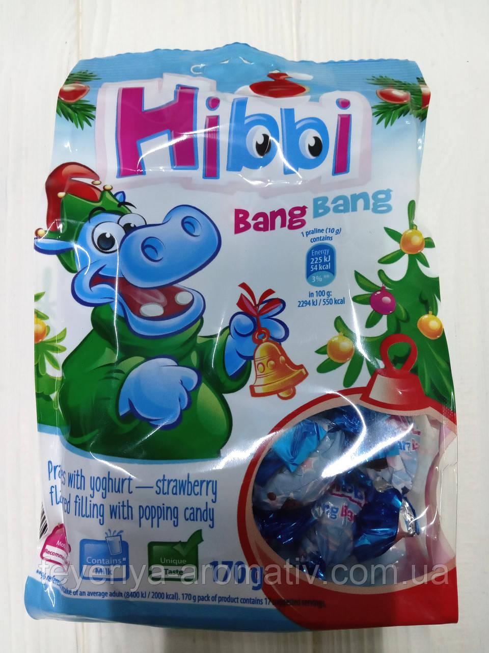 Детские конфеты пралине с начинкой клубничный йогурт Hibbi Bang Band 170гр (Польша)