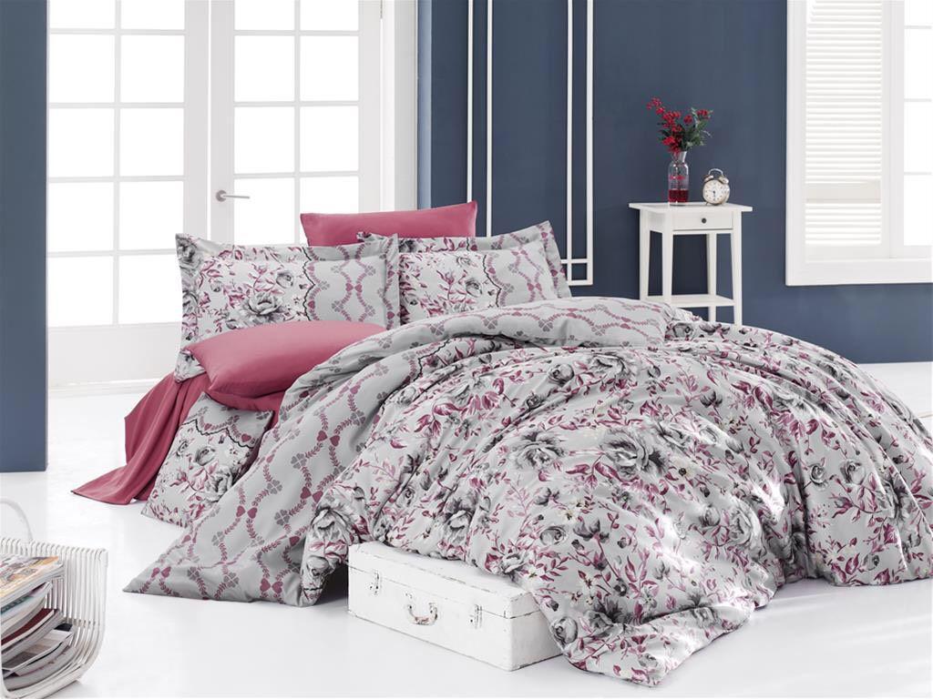 Евро-комплект постельного белья Nazenin AMORE GRI Сатин. Турция