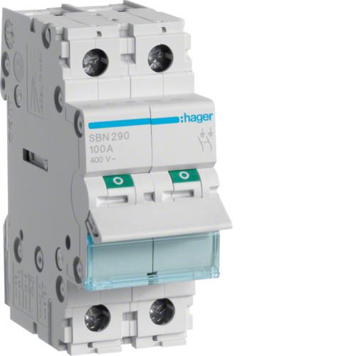 Выключатель напряжения (рубильник) 2-полюсний 100А/400В (SBN290)