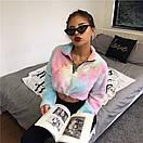 Плюшевое укороченное худи разноцветное с молнией на груди 65sv762, фото 2