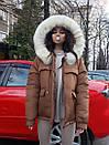 Женская зимняя парка с меховой опушкой на капюшоне и удлиненная сзади 71kr206, фото 7