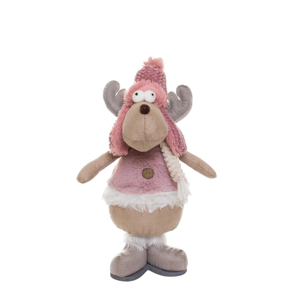 Олень мальчик в розовой жилетке 38см 109365