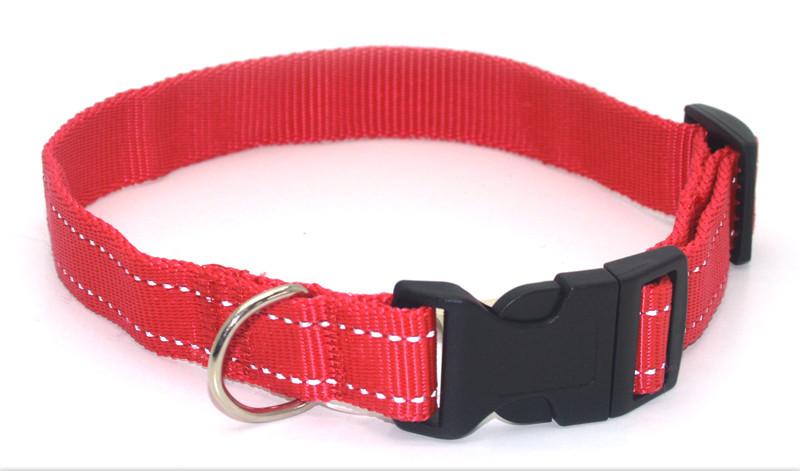 Ошейник для собак капроновый светоотражающий Неон ок 1,0 красный