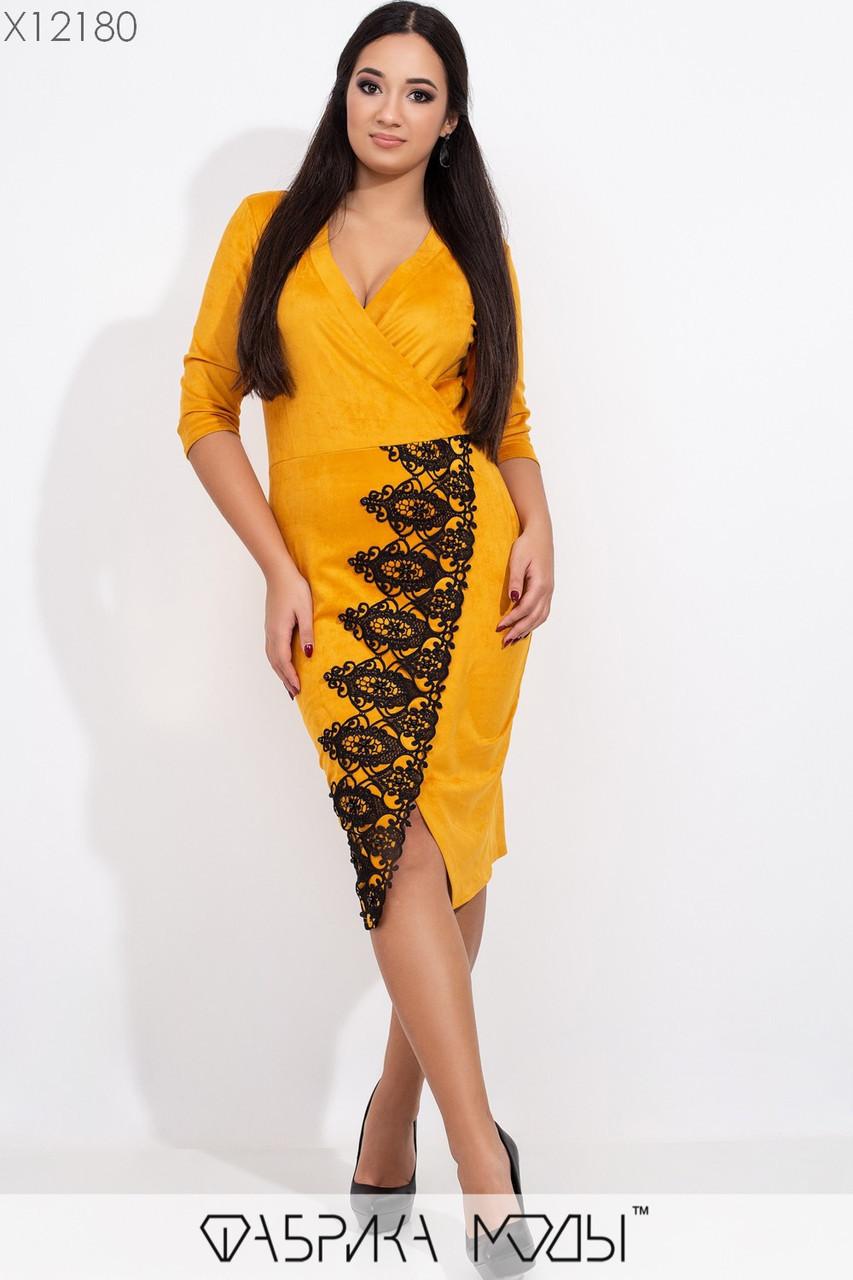 Платье - футляр в больших размерах с верхом на запах и макраме 1ba408