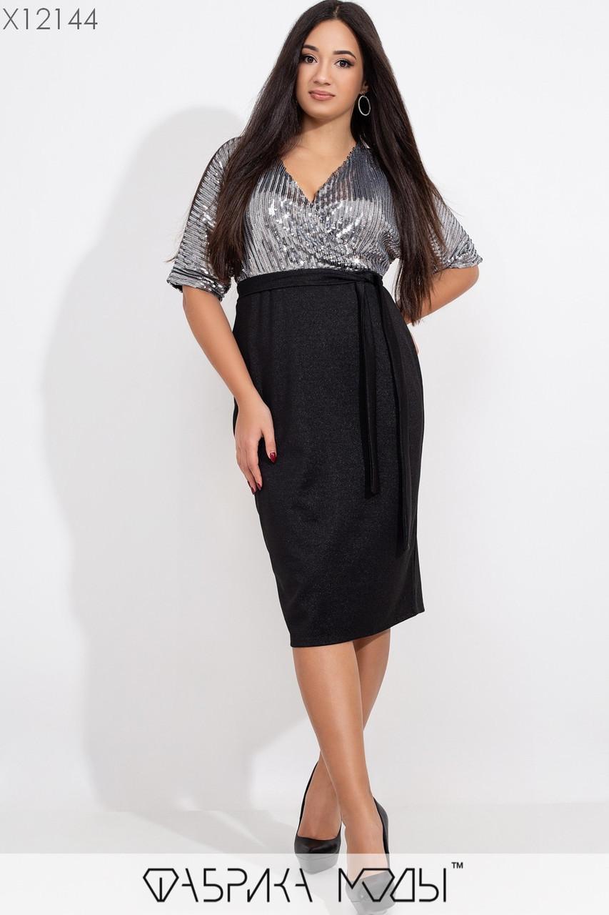 Платье - футляр большого размера с верхом из пайетки на запах 1ba409