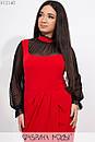 Платье в больших размерах с асимметричной юбкой и вставкой из сетки 1ba4ba, фото 2