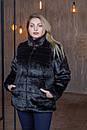 Женская короткая черная шуба в больших размерах без капюшона 39sb94, фото 2