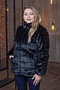 Женская короткая черная шуба в больших размерах без капюшона 39sb94, фото 3