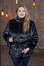 Женская короткая черная шуба в больших размерах без капюшона 39sb94, фото 4